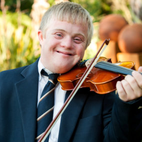 young man playing the violin