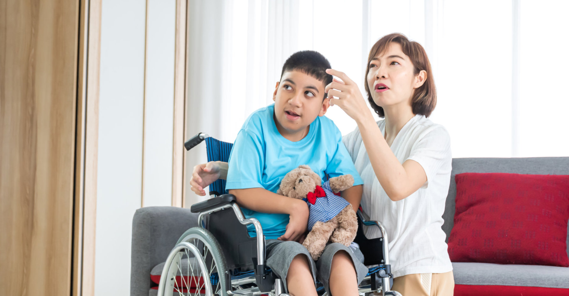 young boy on a wheelchair with his companion